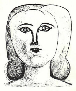 PABLO-PICASSO-1956-LITHOGRAPH-with-COA-HEAD-of-a-GIRL-VERY-EXCLUSIVE-RARE-ART