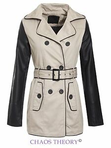 Brave-Soul-Ladies-Womens-Double-Breasted-Pu-Sleeves-Trench-Mac-Coat-Jacket