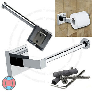 Bathroom-Chrome-Square-Wall-Mounted-Toilet-Roll-Tissue-Paper-Holder-DCUK
