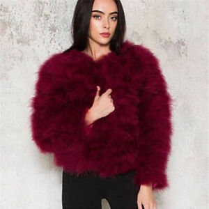New-Real-Ostrich-Feather-Fur-Coat-Women-039-s-Gift-Jacket-Winter-Thick-Warm-Overcoat