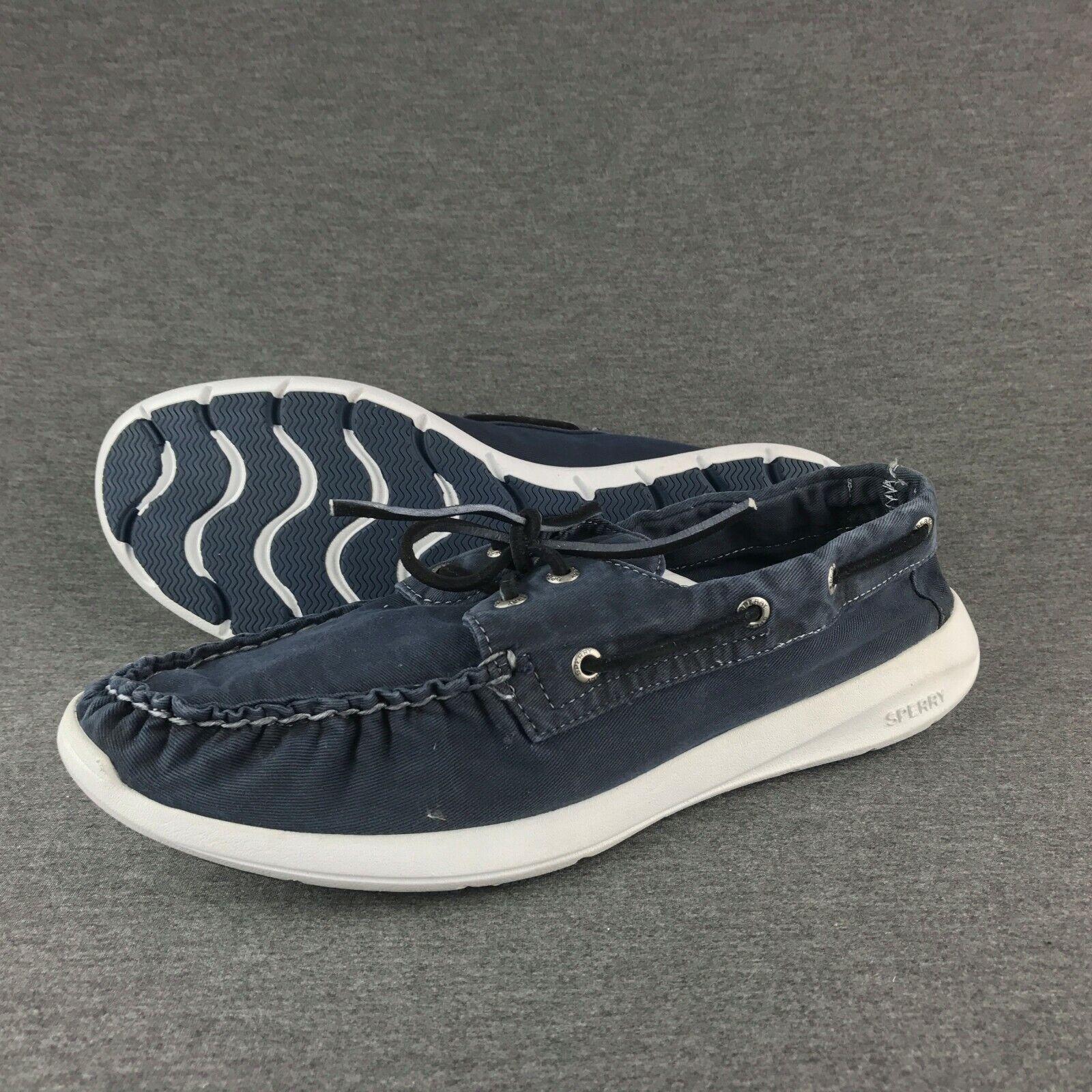 nuevo  para hombres Paul Sperry Top Sider 2-Eye Zapatos Náuticos Algodón Azul-Tamaño 11