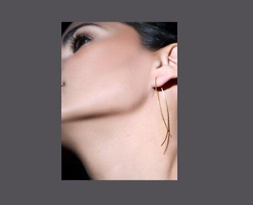 Elegant Gold Tone Long 2 Pronged Dangling Earrings NEW!!