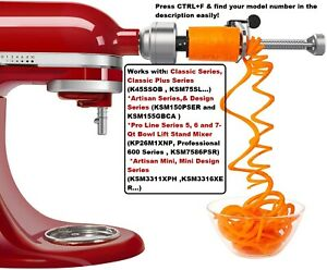 KitchenAid-Spiralizer-Attachment-peeler-slicer-Core-For-5-4-5-7-6-3-5-Qt-mixer