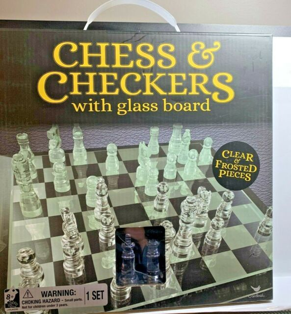 NEW Cardinal Classic Glass Chess and Checkers Set with chess board