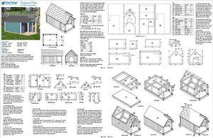 Dog House Plans Gable Twin Roof Style with Porch 90305T Size up