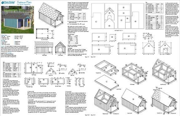 Dog House Plans Gable Twin Roof Style With Porch 90305t Size up to ...