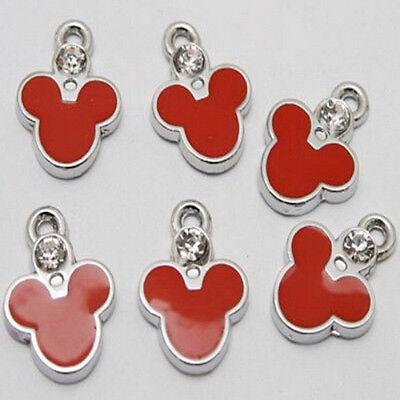 6pcs red enemal zircon mickey charms/pendants w1000