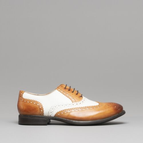 Mister Carlo MONTY II Men Leather Vintage Classic Brogue Lace Up Shoes Tan//White