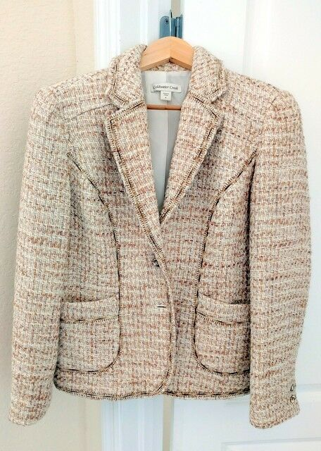 COLDWATER CREEK BROWN AND WHITE BOUCLE TWEED-STYLE FULLY LINED BLAZER SIZE 6
