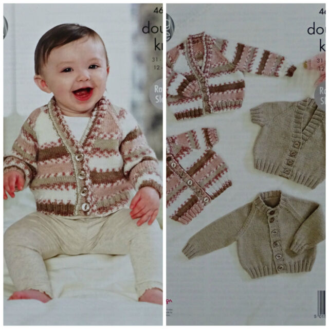 8ada827a3 Baby Long or Short Sleeve Jumper Cardigan Double Knitting Pattern ...