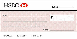 Details about Large BLANK HSBC BANK Cheque for Charity / Presentation /  Fundraising Event