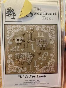 L Is For Lamb Sheep Cross Stitch Kit Sweetheart Tree Retired 28 Linen Series