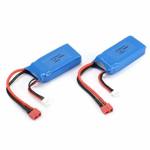 2 Stück 7,4 V 1500 mAh Lipo Batterie T Stecker für Wltoys 12423 12428 RC Craw WW
