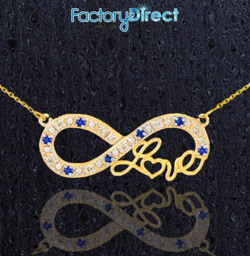 """14k Gold Sapphire Infinity /""""Love/"""" Script Necklace with Diamonds"""