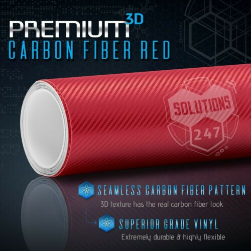 """48/"""" x 60/"""" In Vinyl Wrap Bubble Free Air Release 3D Red Carbon Fiber Matte"""
