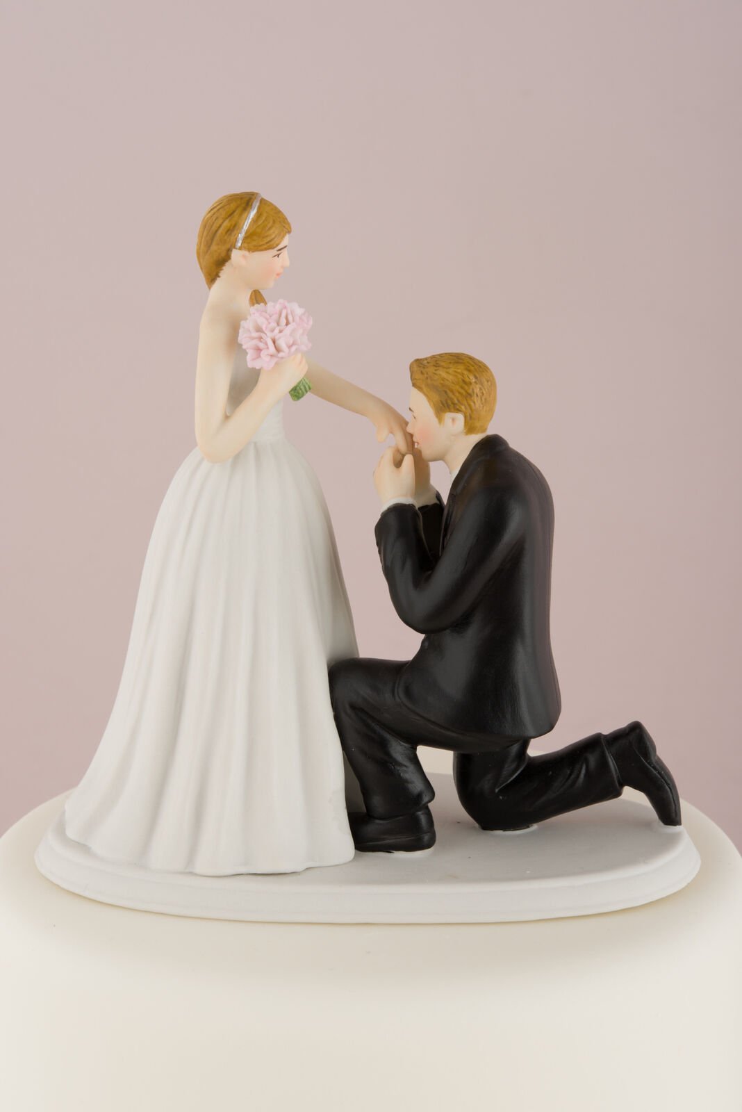 Wedding Cake Topper Blonde Bride and Groom On On On One Knee Hand Painted Porcelain b9c5dc