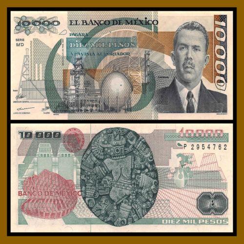 Pesos 1987 P-90a AU Pinholes Mexico 10000 10,000