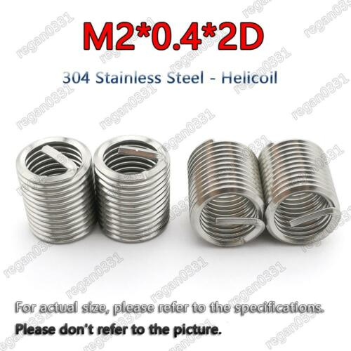 50pcs M2x0.4x2D Metric Helicoil Screw Thread Wire Inserts 304 Stainless Steel