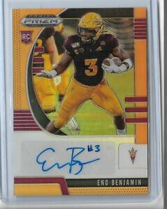 2020-Panini-Prizm-draft-picks-football-rookie-auto-Neon-Orange-Eno-Benjamin-149