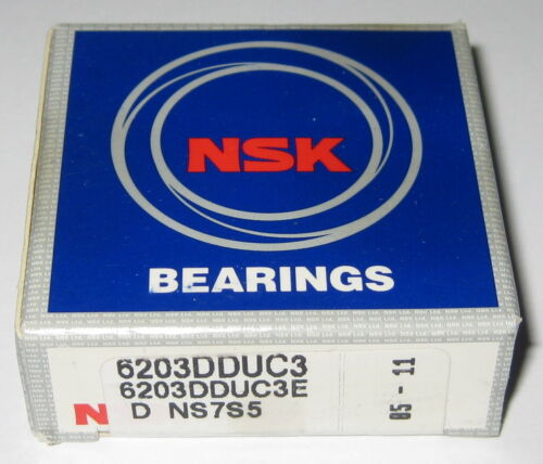 Double Seal 17 mm ID NSK 6203 Deep Groove Single Row Ball Bearing 40 mm OD