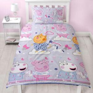 Officiel-peppa-pig-Somnolent-Set-Housse-de-Couette-Simple-Enfants-2-IN-1