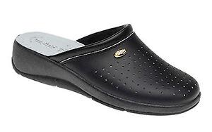Ladies Black Clogs Mule Kitchen Hospital Leather Nurse Shoe New Size 3 to 8 Heel