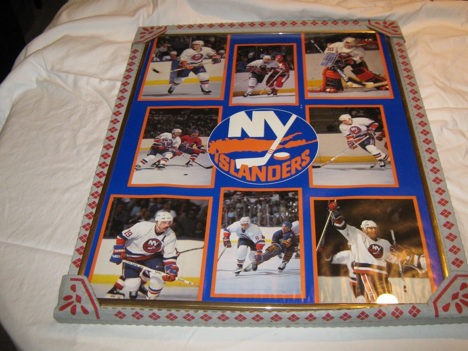 New York Islanders Poster , Vintage , 1988 , Framed