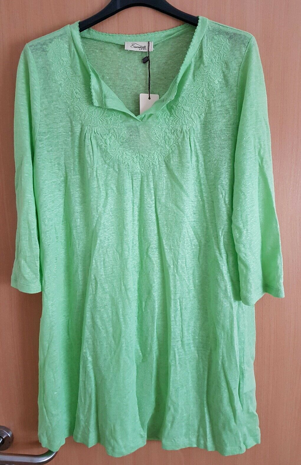 Strand Kaftan Tunika Sommer Kleid Bademode grün Gr. S 36 100% Leinen