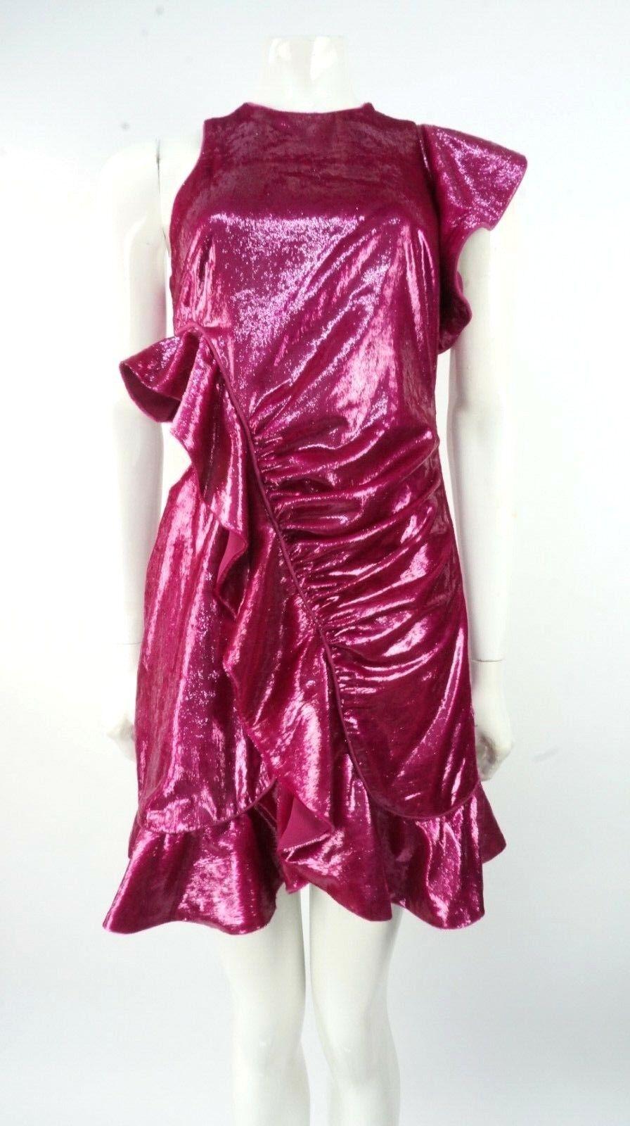 Self-Portrait Shiny Fuchsia Cut Out Frill Wrap Dress Size
