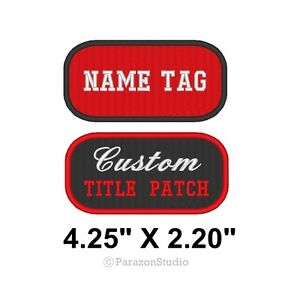 Image is loading Custom-Embroidered-Name-Tag-Title-Patch-Motorcycle-Biker-