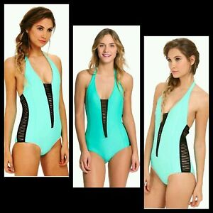 BODY-GLOVE-Green-Black-Side-Cut-Out-Slits-Halter-One-Piece-Swimsuit-S-L-M3020
