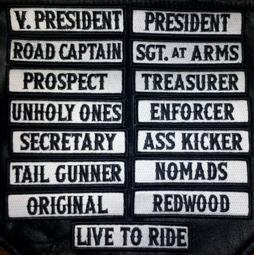 SON OF OUT LAW MC CLUB OFFICER TITLE 15 PC FULL EMBROIDERED BIKER PATCH