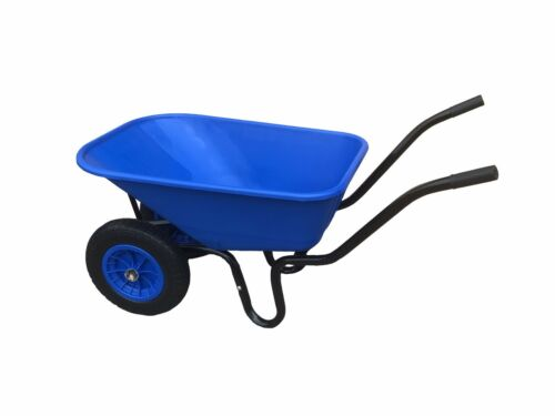 110L TWIN WHEELBARROW WITH PNEUMATIC WHEEL & BLUE PLASTIC BODY WHEEL BARROW