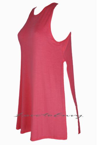 Womens New Split Side Top Long High Slit Tunic Jersey Sleeveless Top S//M /& M//L.