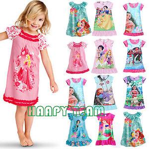 a9dc393c8 Kids Girl Cartoon Nightie Nightdress Pyjamas Tops T-shirt Fancy ...