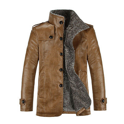 Fashion Men's Warm Winter Jacket Leather Coat Fur Parka Fleece Jacket Slim Coat