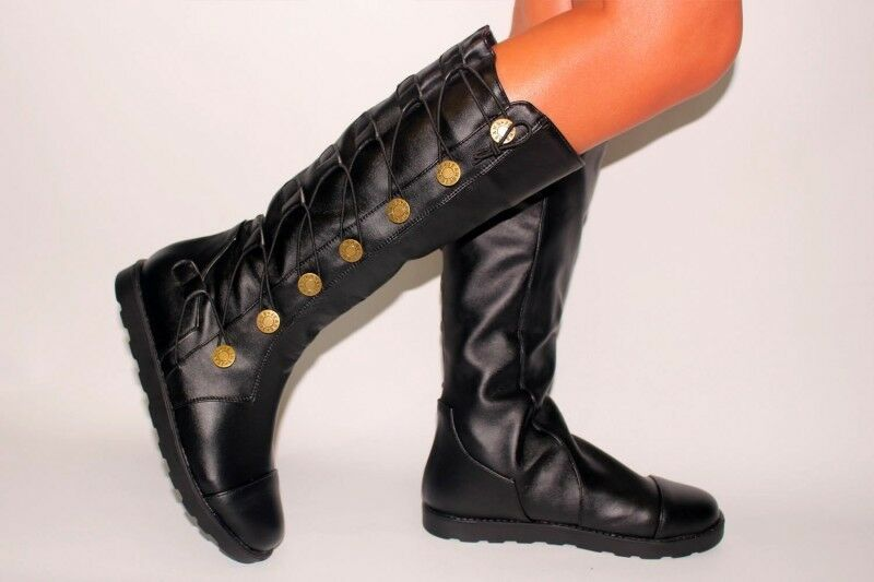 Button Leather Mid Calf Boots Flats Pull On Casuals Retro Hot Sale Women shoes