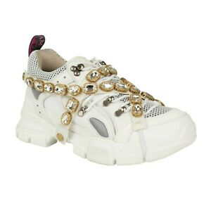 954ff0e2a3a Image is loading NIB-GUCCI-White-Lace-Up-Flashtrek-Crystal-Sneakers-