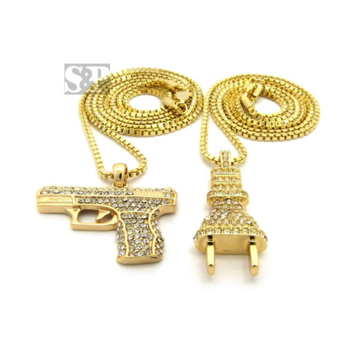 """NEW ICED OUT GOLD PT POWER PLUG /& HAND GUN PENDANT 24/"""" /& 30/"""" BOX CHAIN NECKLACE"""