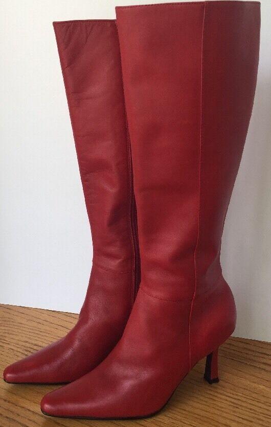 Moda Spana Damenschuhe Tall ROT Leder Stiefel Pointed Toe Größe 5 M 3.25