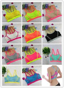 Women Yoga Fitness Sports Bra Stretch Tank Top Seamless Racerback Padded Vest