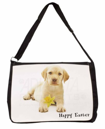 'Happy Easter' Goldie Puppy Large Black Laptop Shoulder Bag SchoolC, ADL4DA1SB