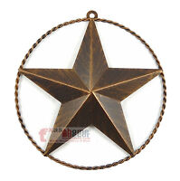 9 3/8 Texas Metal Barn Star Twisted Wire Ring Brushed Copper Finish Wall Mount