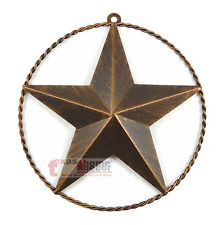 """9 3/8"""" Texas Metal Barn Star Twisted Wire Ring Brushed Copper Finish Wall Mount"""