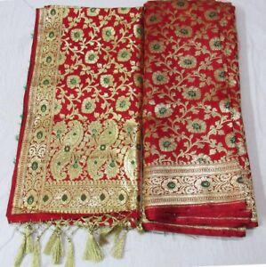 2c5b33682bb Details about banarshi banarashi nepali wedding bridal saree dupatta sari  with shawl
