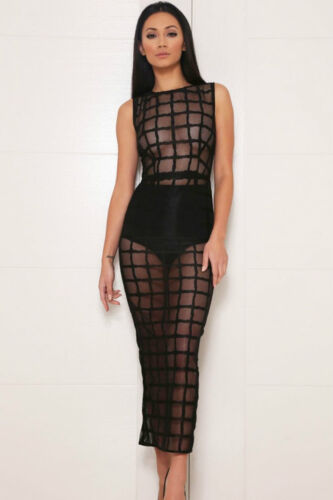 Abito lungo Nudo aderente trasparente coulotte See-through Grid Dress clubwear