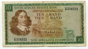 South-Africa-De-Jongh-1967-R10-VF-Banknote-Paper-Money-P113c