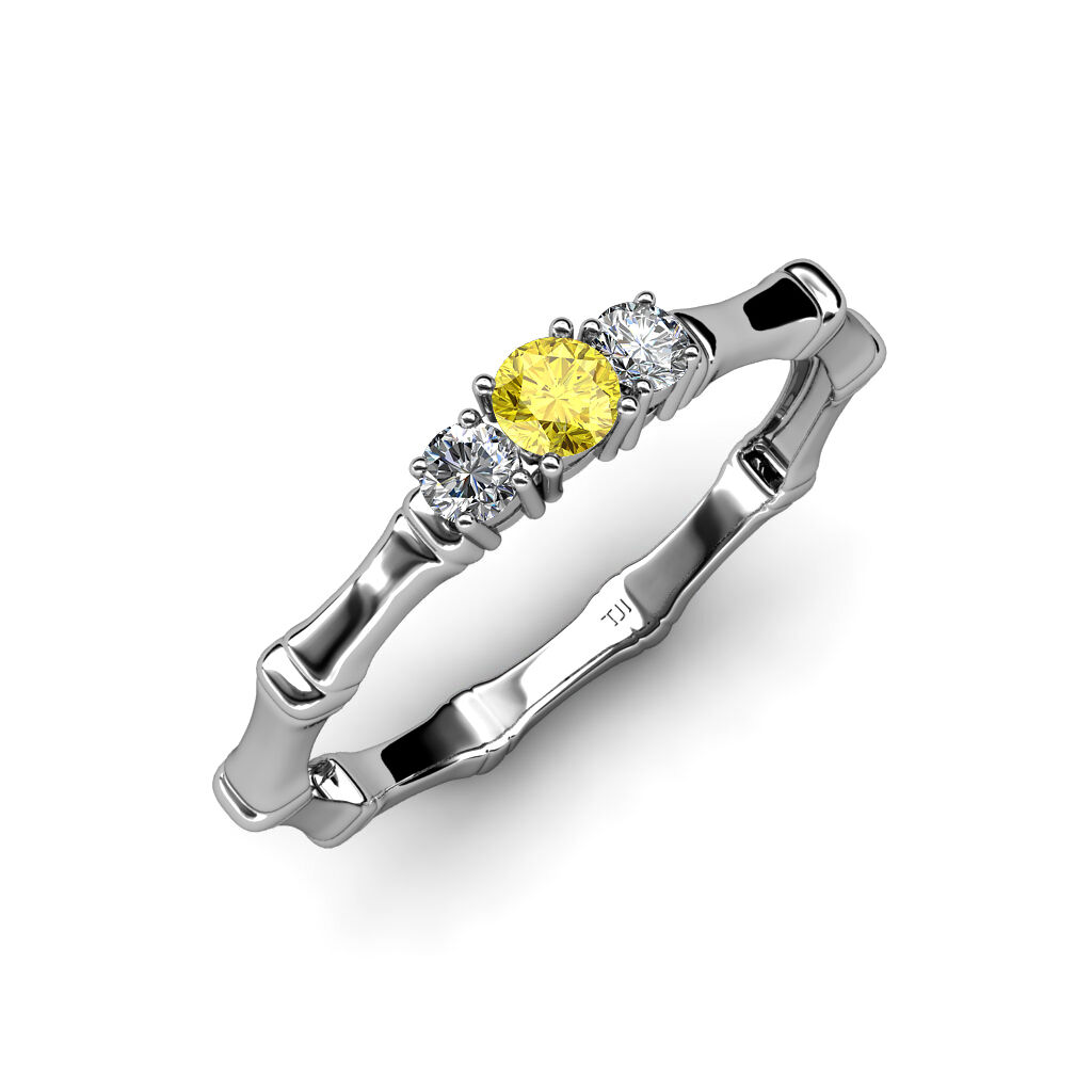 Yellow Sapphire with Side Diamond 3 Stone Bamboo Ring 0.30cttw 14K gold JP 33941