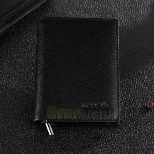 Men/'s European Cowhide Brown Leather Trifold Wallet 3 ID 8 Slots Change Pocket