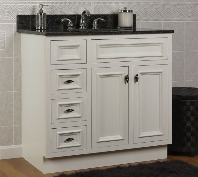 Jsi Danbury 36 White 3 Lh Drawer Bathroom Vanity Base Cabinet Solid Wood Frame